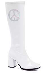 "3"" White Patent Leather Gogo Boots with Holo Peace Sign"