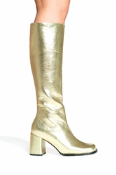"3"" Go-go Boots in Gold Faux Leather"