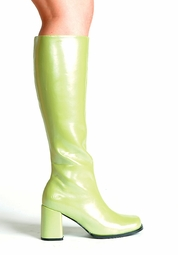 "Go-go Boots in Lime Green Faux Leather with 3"" Heel"