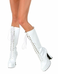 "5"" Chunky Heel Knee High Boots with Lacing"