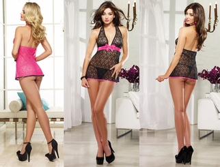 Luxe Lace Babydoll with Ribbon and Bow and Matching Thong
