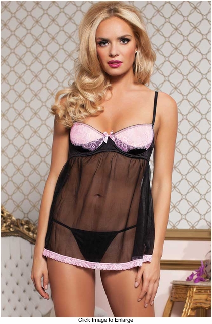 Satin and Lace Babydoll Lingerie with Sling Cups and Thong