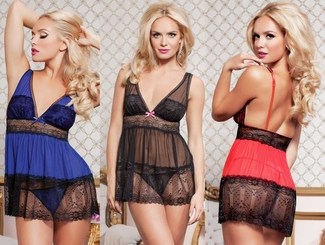 Mesh and Lace Babydoll and Thong