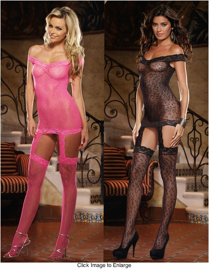 Leopard Fishnet Garter Dress with Attached Stockings