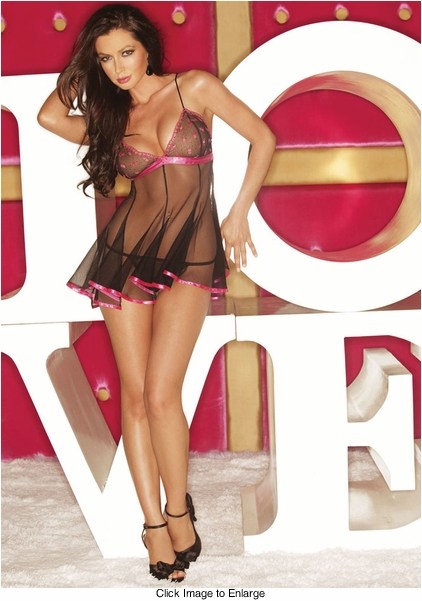 Sweet Pink and Black Babydoll Lingerie