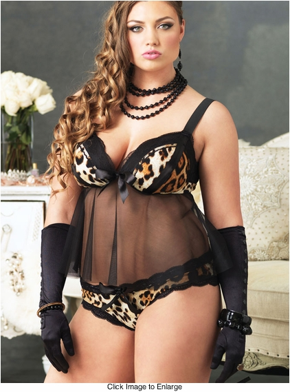 Plus Size Leopard Babydoll and Panty
