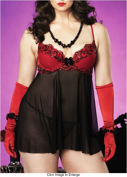 Plus Size Sexy Sequin Babydoll with G-string