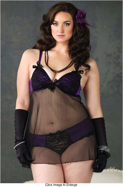 Sexy Plus Size Purple and Black Babydoll Lingerie and Panty