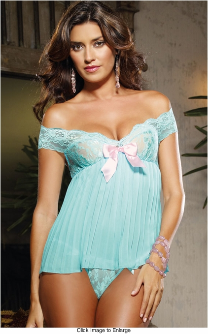 Aqua Lace and Pleated Chiffon Babydoll and Thong