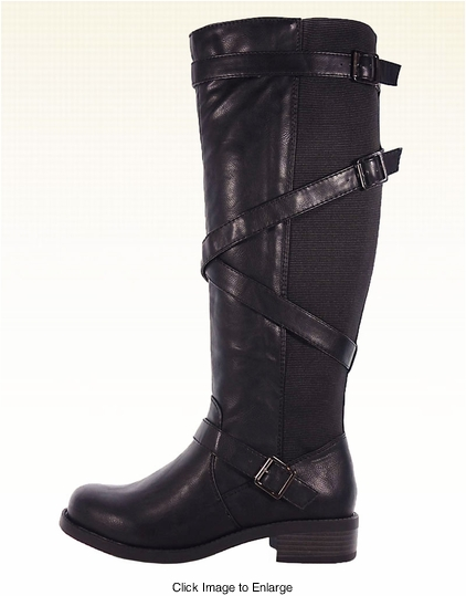 "1.5"" Black Vegan Leather Knee High Boots with Elastic Back"