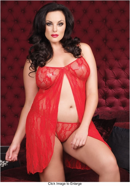 Plus Size Seductive Lace Babydoll with G-string