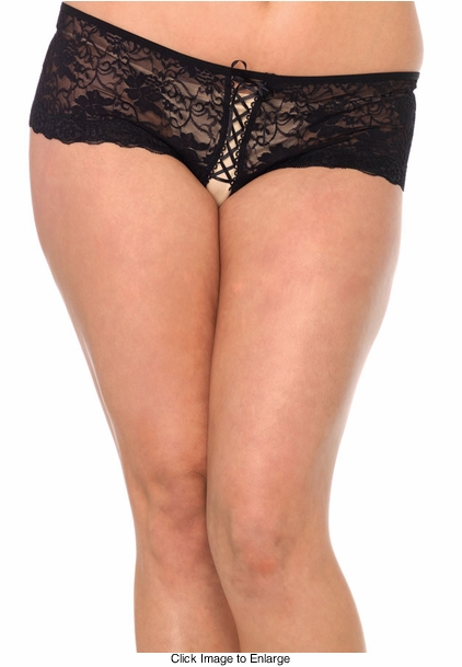 Plus Size Lace Front Crotchless Black Thong Shorts