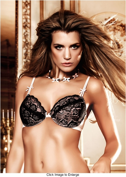 Black and Baby Pink Lace Maximum Cleavage Bra With Underwire