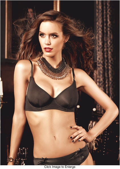 Black  Microfiber Maximum Cleavage Bra With Underwire