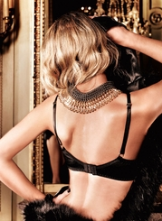 Black Satin And Lace Bra With Underwire