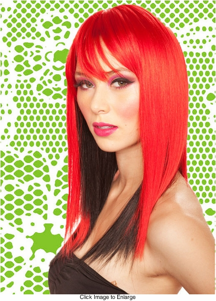Two Tone Layered Red Straight Wig with Side Swept Bangs