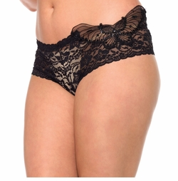 Black Plus Size Sequin Butterfly Lace Shorts