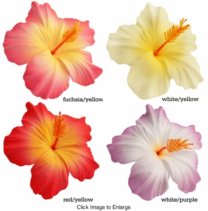 "3.5"" Hibiscus Premium Quality Flower Hair Clips in Vibrant Colors"
