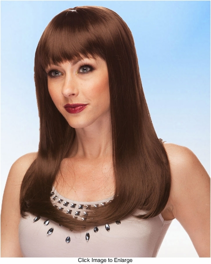 Vixen Long Hair Wig with Full Bangs in Chocolate Brown