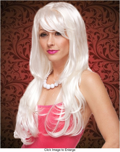 Tousled Long White Wig with Bangs