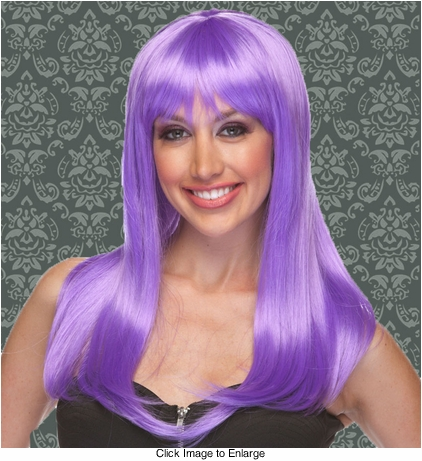 Vixen Long Hair Wig with Full Bangs in Lavender