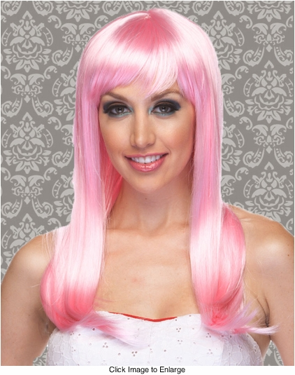 Vixen Long Hair Wig with Full Bangs in Light Pink