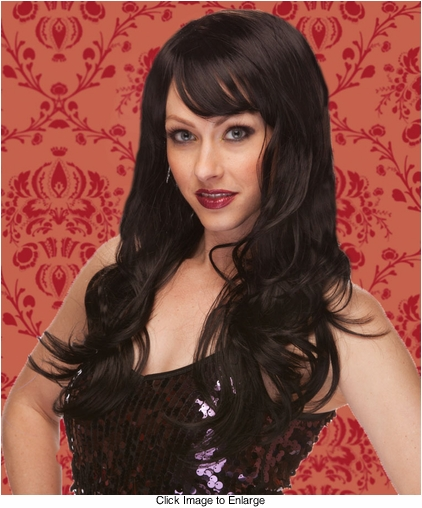 Long Wig with Tousled Curls and Face Framing Bangs in Black