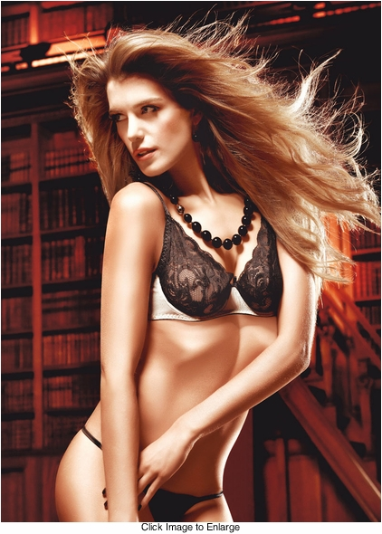 Black and Champagne Lace And Mesh Bra With Underwire