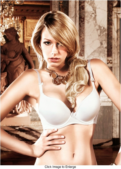 White Microfiber Maximum Cleavage Bra With Underwire