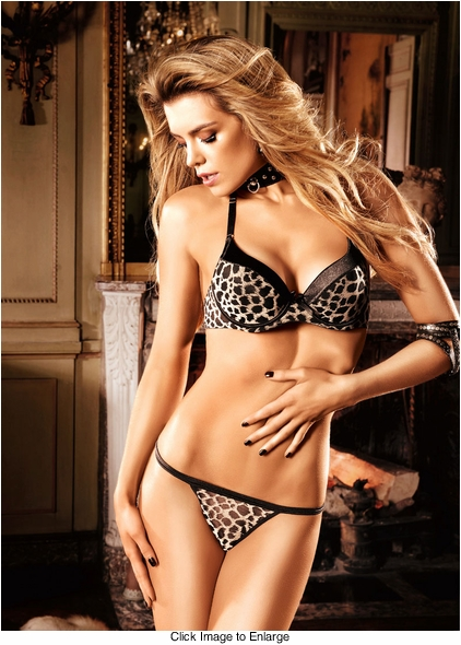 Cheetah Mesh and Satin Four-Way Convertible Bra With Underwire