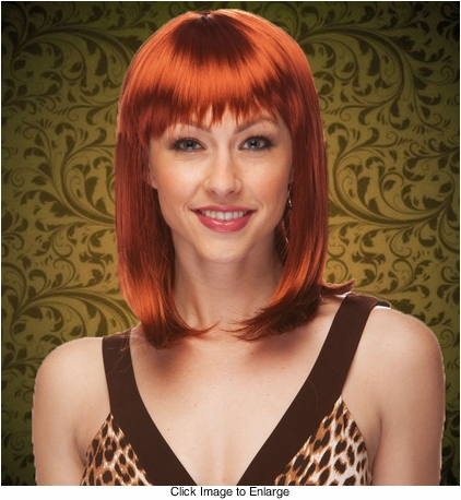 Chic Tapered Bob with Full Bangs in Auburn Red
