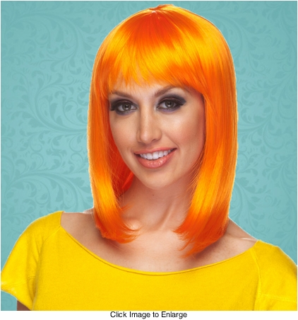 Chic Tapered Wig with Full Bangs in Orange