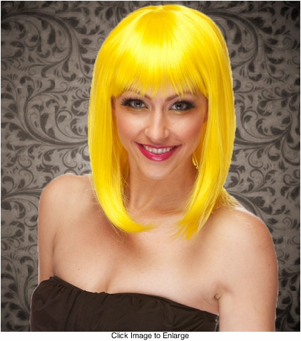 Chic Tapered Wig with Full Bangs in Yellow