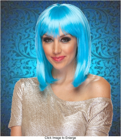 Chic Tapered Wig with Full Bangs in Light Blue