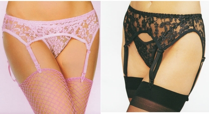 Plus Size Stretch Lace Garter Belt with Matching Thong (available in 4 colors)