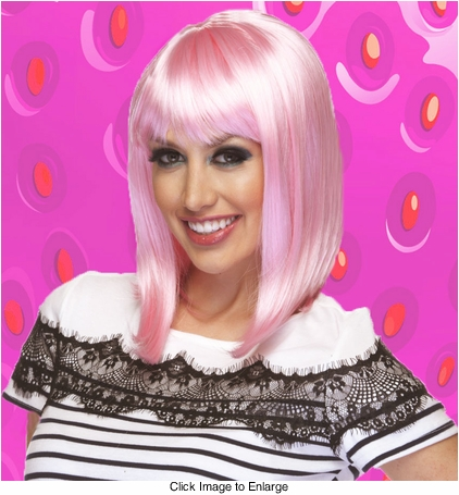 Chic Tapered Wig with Full Bangs in Light Pink
