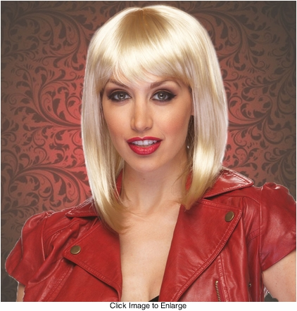 Chic Tapered Wig with Full Bangs in Blonde