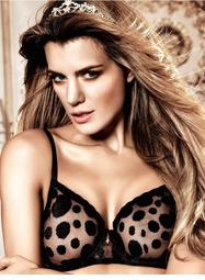 Black  Dot Mesh Soft Cup Bra With Underwire