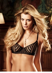 Black Striped Soft Cup Bra With Underwire