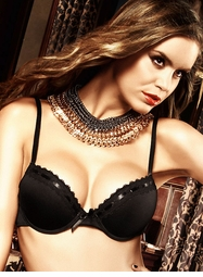 Black Microfiber And Lace Bra With Underwire