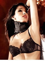 Black Lace And Mesh Bra With Underwire