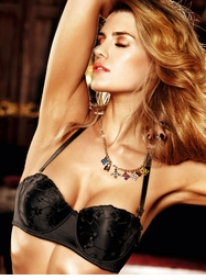 Black Embroidered Four-Way Strapless Convertible Bra