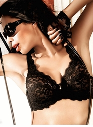 Black Lace Demi Bra With Underwire