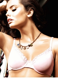 Light Pink Microfiber Lace Maximum Cleavage Bra With Underwire
