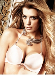 Baby Pink Microfiber Deep-V Push Up Bra
