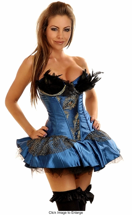 Corset Peacock Showgirl Costume with Skirt and Thong