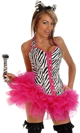 Corset Zebra Costume with Ear, Tail and Petticoat
