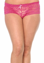 Plus Size Pink Stretch Lace Shorts