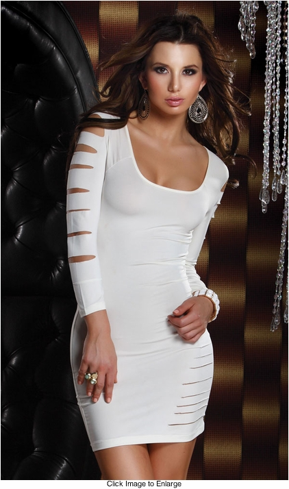 White Mini Dress with Cutouts