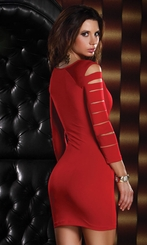Red Off the Shoulder Mini Dress with Sleeve and Thigh Cutouts